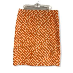 J Crew orange white geometric print pencil skirt 6
